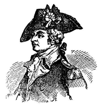 General Anthony Wayne, 1745-1796, he was a United States army officer, statesman and brigadier general, vintage line drawing or engraving illustration Stock fotó - 133486891