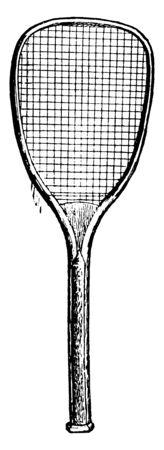 A badminton or tennis racket picture, vintage line drawing or engraving illustration. 向量圖像