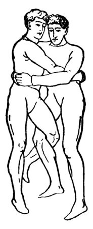 Both wrestlers are holding each other tightly and jamming their legs, vintage line drawing or engraving illustration.