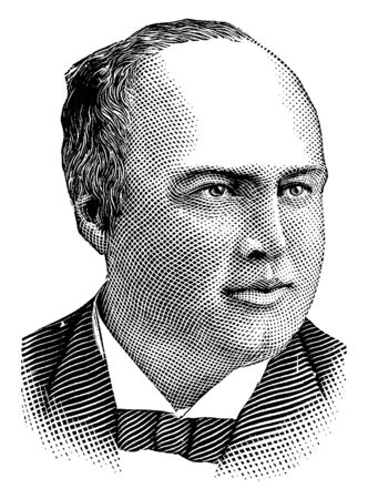 Robert J. Ingersoll, he was an American lawyer, politician, and orator, vintage line drawing or engraving illustration