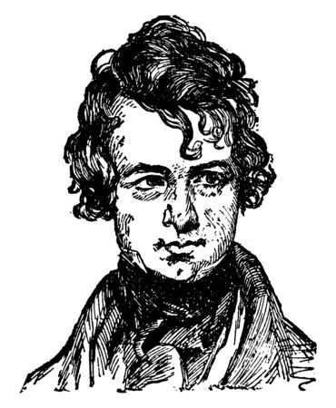 Nathaniel Parker Willis, 1806-1867, he was an American author, poet and editor, vintage line drawing or engraving illustration Stock fotó - 133486896