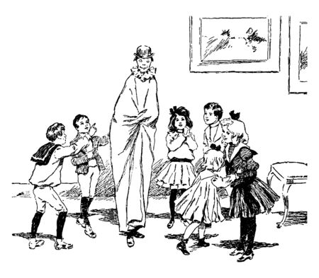 In this picture one boy is standing another boys shoulder & both are putted giant cloth. There are more than one children are playing around the Giant, vintage line drawing or engraving illustration. 向量圖像