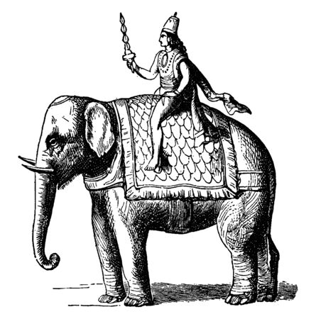 In diesem Bild scheint Indra der Gott der Luft, des Windes und des Regens zu sein. Sie sitzen auf Elefanten, Vintage-Linienzeichnung oder Gravurillustration.