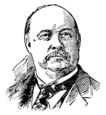 Thomas B. Reed, 1839-1902, he was a United States representative from Maine, and speaker of the U.S. house of representatives, vintage line drawing or engraving illustration