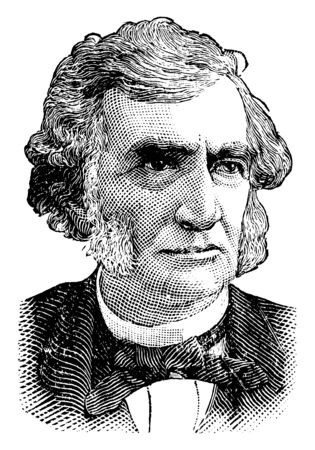 Justin S. Morrill, 1810-1898, he was a United States representative and senator from Vermont, famous for the Morrill Land-Grant Colleges Act, vintage line drawing or engraving illustration