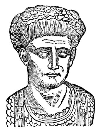 Marcus Trajan, he was Roman emperor, vintage line drawing or engraving illustration