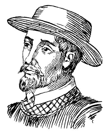 Ponce de Leon, 1474-1521, he was a Spanish explorer and conquistador and the first governor of Puerto Rico, vintage line drawing or engraving illustration Vektoros illusztráció