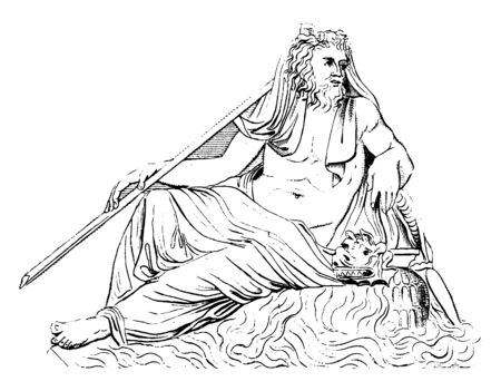 An Ancient picture of the river god, restored as Oceanus sitting on throne, vintage line drawing or engraving illustration.
