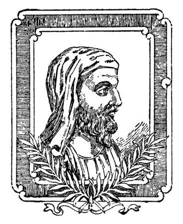 Plutarch, he  was a Greek biographer and essayist, vintage line drawing or engraving illustration Illusztráció