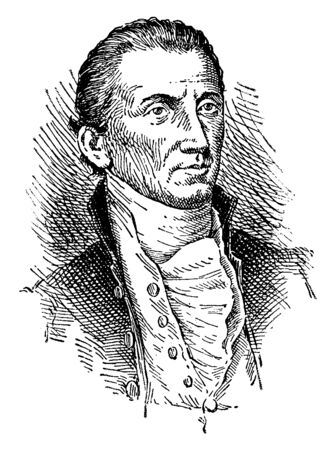James Monroe, 1758-1831, he was an American statesman, the fifth president of the United States from 1817 to 1825 and eighth United States secretary of war, vintage line drawing or engraving illustration