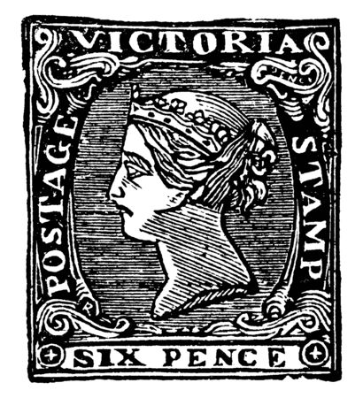 Victoria Six Pence Stamp from 1854 to 1858, vintage line drawing or engraving illustration.