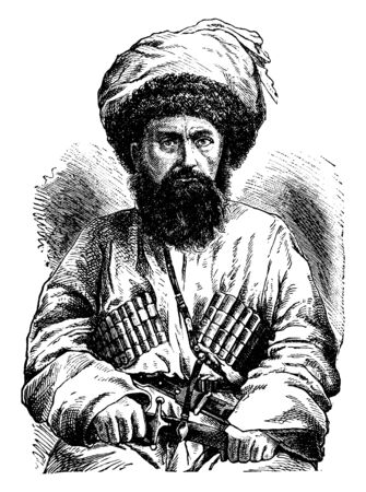Shamyl, 1797-1871, he was an Avar political and religious leader of the Muslims of the Northern Caucasus, vintage line drawing or engraving illustration Stock fotó - 133486900