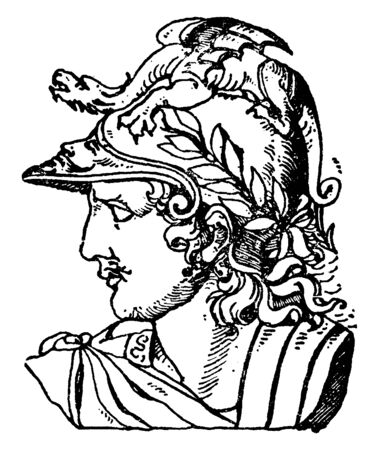 In this image this is Head of Mars, Roman god of war. On his helmet there was a small dragon that has wings too, vintage line drawing or engraving illustration.