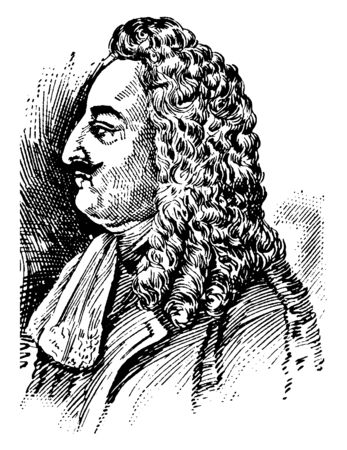 Robert La Salle, 1643-1687, he was a French explorer, vintage line drawing or engraving illustration