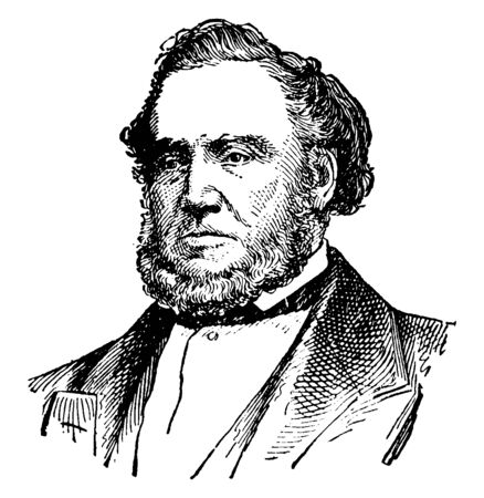 Brigham Young, 1801-1877, he was an American leader, politician, and the first governor of the Utah Territory, vintage line drawing or engraving illustration Stock fotó - 133486903