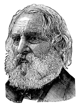 Henry Wadsworth Longfellow, 1807-1882, he was an American poet and educator whose works include Paul Revere's Ride, The Song of Hiawatha, and Evangeline, vintage line drawing or engraving illustration