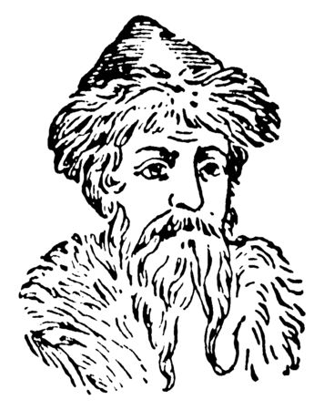 Gutenberg, c. 1400-1468, he was a German blacksmith, goldsmith, printer, and publisher who introduced printing to Europe, vintage line drawing or engraving illustration