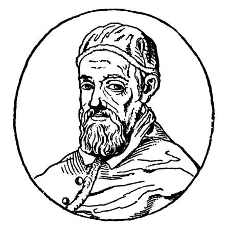 Papst Urban VIII., 1568-1644, er war römisch-katholischer Papst von 1623 bis 1644, Vintage-Linienzeichnung oder Gravurillustration