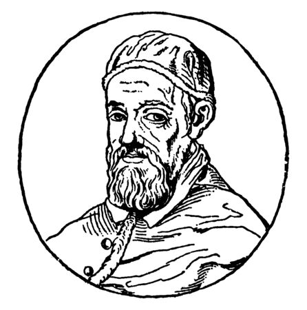 Pope Urban VIII, 1568-1644, he was Roman catholic pope from 1623 to 1644, vintage line drawing or engraving illustration