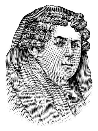 Elizabeth Cady Stanton, 1815-1902, she was an American suffragist, social activist, abolitionist, and leading figure of the early women's rights movement, vintage line drawing or engraving illustration