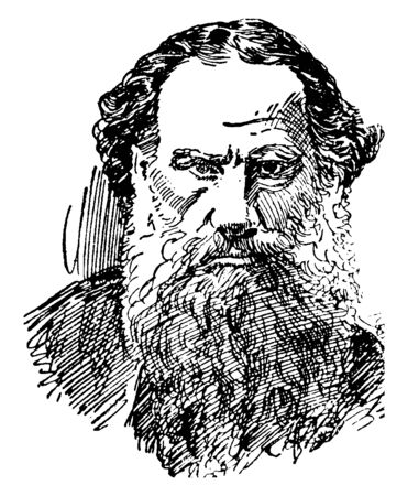 Count Leo Tolstoi, 1828-1910, he was a Russian writer, vintage line drawing or engraving illustration Ilustrace