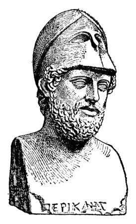 Pericles, c. 495-429 BC, he was a prominent and influential Greek statesman, orator and general of Athens during the golden age, vintage line drawing or engraving illustration