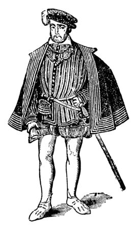 Henry II, 1519-1559, he was a monarch of the House of Valois and king of France from 1547 to 1559, vintage line drawing or engraving illustration