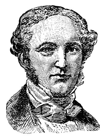 George Prentice, 1802-1870, he was the editor of the Louisville Journal, vintage line drawing or engraving illustration