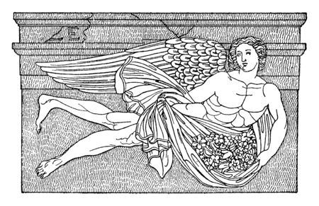 An ancient picture of the Greek god of the west wind known as Zephyros. He is known as the fructifying wind, the messenger of spring, vintage line drawing or engraving illustration. Vettoriali