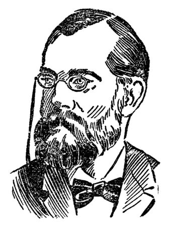Robert Koch, 1843-1910, he was a German physician and pioneering microbiologist, famous  for his discovery of the Anthrax Bacillus, vintage line drawing or engraving illustration