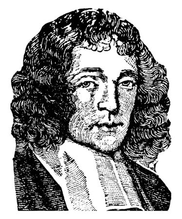 Baruch Spinoza, 1632-1677, he was a Dutch philosopher, vintage line drawing or engraving illustration Иллюстрация