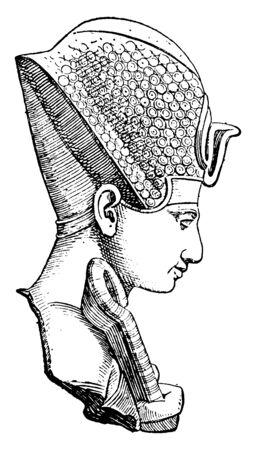 Ramses II in Profile, he was the pharaoh of the nineteenth dynasty of Egypt, vintage line drawing or engraving illustration