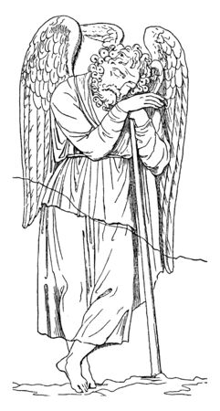 In this frame there is an adult man who has wings, he has slept with a stick near him and is asleep, vintage line drawing or engraving illustration.