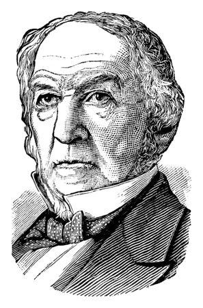William E. Gladstone, 1809-1898, he was a British Liberal statesman, conservative politician, prime minister of the United Kingdom, chancellor of the Exchequer, and member of parliament, vintage line drawing or engraving illustration