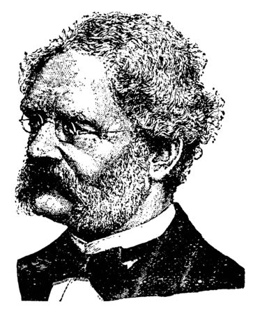Ernst Siemens, 1816-1892, he was a German inventor, industrialist and founder of the electrical and telecommunications company Siemens, vintage line drawing or engraving illustration