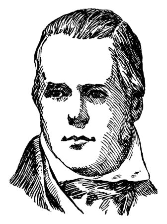 Sir Walter Scott, 1771-1832, he was a Scottish historical novelist, playwright and poet, vintage line drawing or engraving illustration