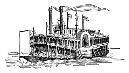 Steamer is a ship boat or locomotive powered by steam, vintage line drawing or engraving illustration.