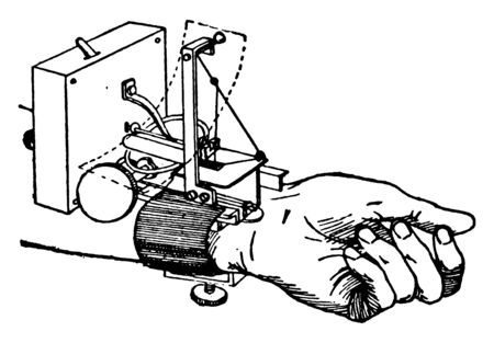 Here a machine is tied on the wrist of the hand, vintage line drawing or engraving illustration.