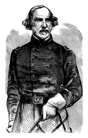 General Daniel Tyler, 1799-1882, he was an iron manufacturer, railroad president, and one of the first union army generals of the American civil war, vintage line drawing or engraving illustration