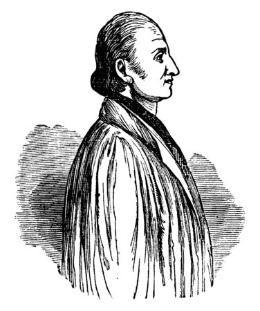 John Oberlin, 1740-1826, he was a Alsatian pastor and a philanthropist, vintage line drawing or engraving illustration