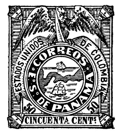 This image represents Panama in Colombian Republic Cencuenta Centavos Stamp in 1878, vintage line drawing or engraving illustration.