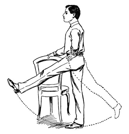 A man hold chair with one hand & swinging his leg, vintage line drawing or engraving illustration.