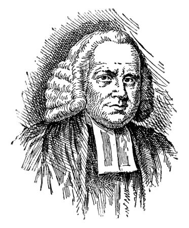 George Whitefield, 1714-1770, he was a preacher in the church of England and leader of the Methodist movement, vintage line drawing or engraving illustration