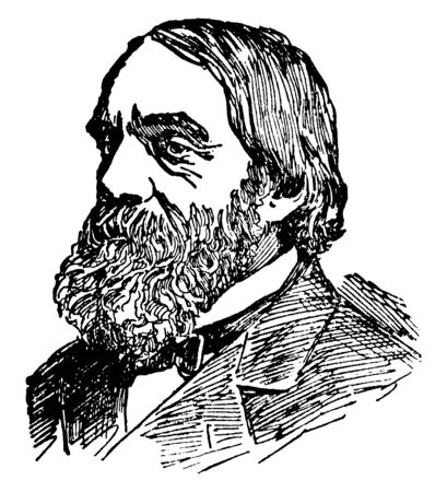 Edward Everett Hale, 1822-1909, he was an American author, historian, and Unitarian minister, vintage line drawing or engraving illustration Çizim