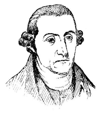 Patrick Henry, 1736-1799, er war ein amerikanischer Anwalt, Pflanzer, Redner und der erste und sechste postkoloniale Gouverneur von Virginia, berühmt für seine Erklärung zur Zweiten Virginia Convention, Vintage-Linienzeichnung oder Gravierillustration
