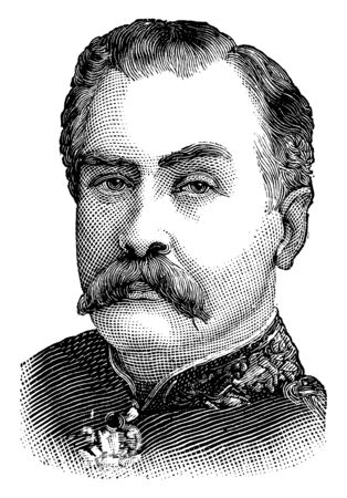 Major-General Gerald Graham, 1831-1899, he was a senior British army commander in the late 19th century and an English recipient of the victoria cross, vintage line drawing or engraving illustration Illustration