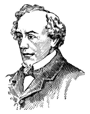 Benjamin Disraeli, 1804-1881, he was a British statesman of the conservative party, novelist, and prime minister of the United Kingdom, vintage line drawing or engraving illustration Çizim