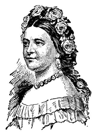 Mary Todd Lincoln, 1818-1882, she was the first lady of the United States from 1861 to 1865, vintage line drawing or engraving illustration