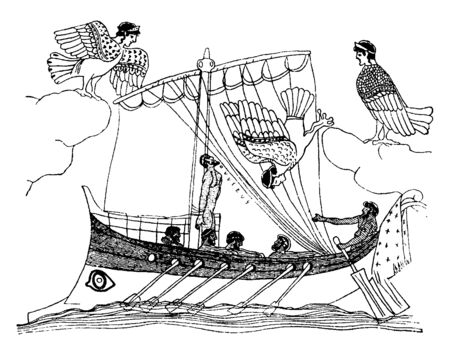 An ancient picture of Ulysses, Greek king of Ithaca and hero, passing the Sirens. The picture represents the Sirens as birds with heads of maidens, vintage line drawing or engraving illustration. Illustration
