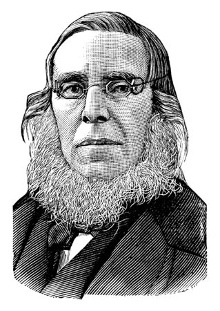 Peter Cooper, 1791-1883, he was an American industrialist, inventor, and philanthropist, vintage line drawing or engraving illustration Illustration